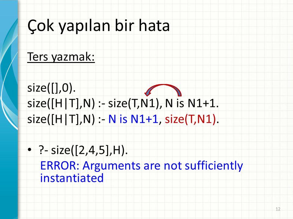 Çok yapılan bir hata Ters yazmak: size([],0).